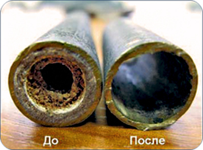 Промывка теплообменника - труба до и после
